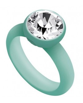 Anello Verde Acqua M 16 Ops!Rock in policarbonato e cristallo Swarovski - OpsObjects - OUTLET € 16,00