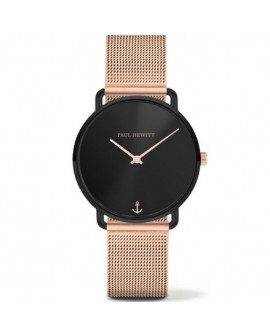 Orologio donna solo tempo Paul Hewitt Miss Ocean Line Black Sunray Mesh Strap IP rose gold