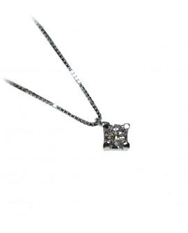 Collana donna punto luce oro bianco con diamanti ct. 0,22 - Cicalese 1898 Gioilleria Made in Italy