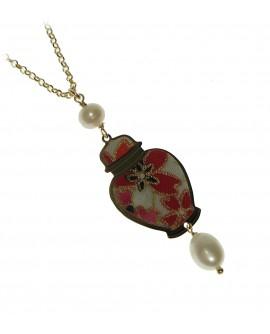 Collana donna Lebole mini in argento galvanizzato oro e seta di antichi Kimono - Potiche - Lebole gioielli - SALDI