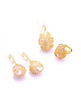 Anello argento rose gold con agata bianca e cristalli - Maison Tatiana Fabergè