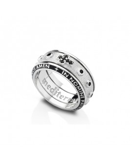Anello unisex argento con cristalli black Rosario misura 16 - Mediterraneo gioielli