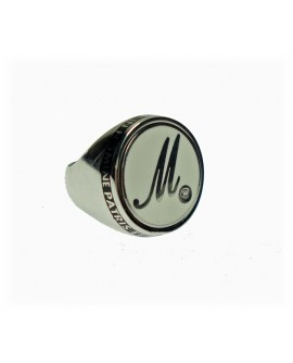 Anello unisex argento rodiato Icone Letters M chevalier con smalto bianco - Mediterraneo gioielli