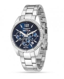 Orologio uomo acciaio cronografo Sector 240 blu