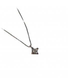 Collana donna punto luce oro bianco con diamanti ct. 0,07 - Cicalese 1898 Gioilleria Made in Italy
