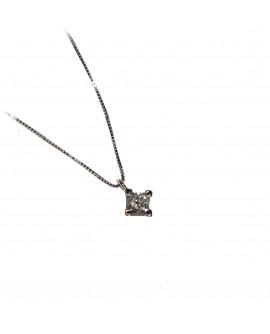 Collana donna punto luce oro bianco con diamanti ct. 0,06 - Cicalese 1898 Gioilleria Made in Italy