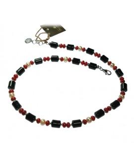 Collana donna argento con pasta di corallo, onice e perle - Via Condotti gioielli