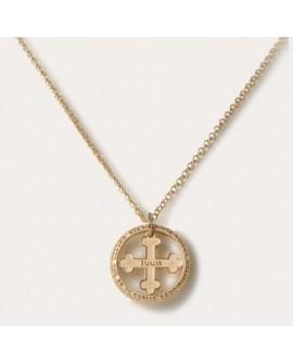 Collana unisex argento dorato T-Gold Flore con catena - Tuum