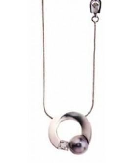 Collana donna Salvini Polo oro bianco con perla nera e diamanti - - SALDI