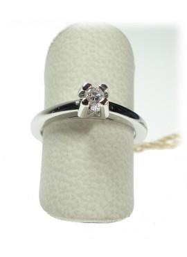 Anello donna oro bianco Solitario con diamante ct. 0,11 Misura 12 - Cicalese 1898 gioielleria Made in Italy - OUTLET € 499,00
