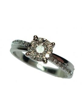 Anello Solitario con pavè oro bianco e diamanti misura 15 - Cicalese Gioielli Valenza Made in Italy