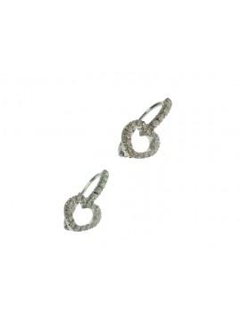 Orecchini donna oro bianco cuore con diamanti gancio monachella - Cicalese Gioielli Valenza Made in Italy