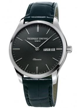 Orologio uomo solo tempo Frederique Constant Quartz nero - Quarzo Swiss Made