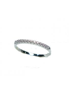 Anello oro bianco Veretta con diamanti ct. 0,16 misura 14 - Cicalese Gioielli Valenza Made in Italy