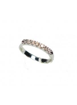 Anello oro bianco Veretta con diamanti ct. 0,19 misura 12 - Cicalese Gioielli Valenza Made in Italy