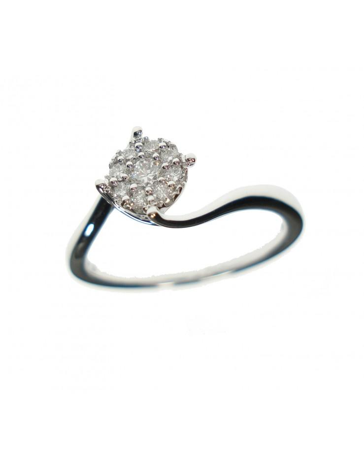 Anello donna oro bianco con diamanti ct. 0,17 misura 14 - Ny Nai by Fani gioielli