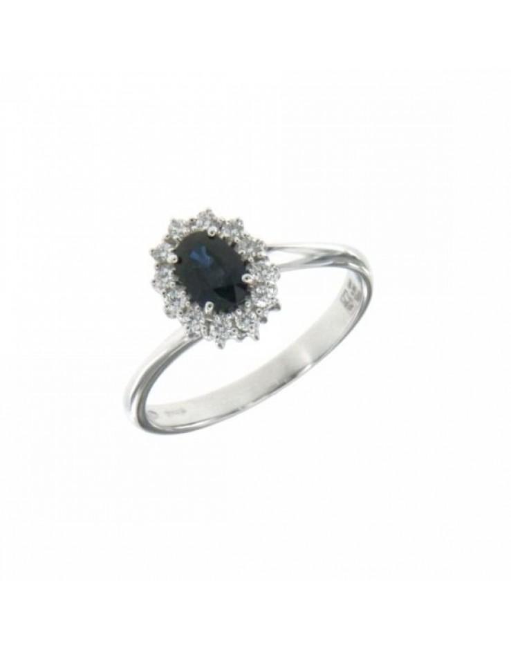 Anello donna oro bianco con Zaffiro Blu e diamanti Misura 15 - Cicalese Gioielli Valenza Made in Italy