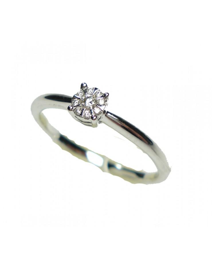 Anello oro bianco con diamanti misura 14 - Cicalese Gioielli Valenza Made in Italy