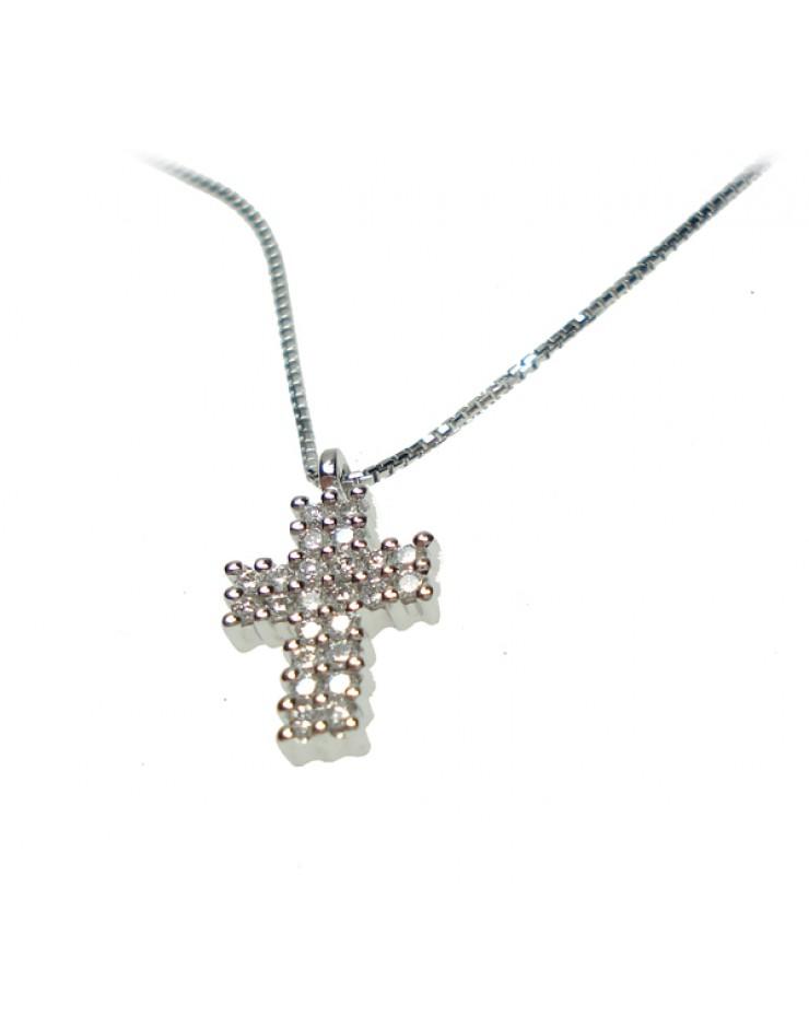 Collana donna oro bianco Croce con diamanti tot. ct. 0,24 - Cicalese Gioielli Valenza Made in Italy