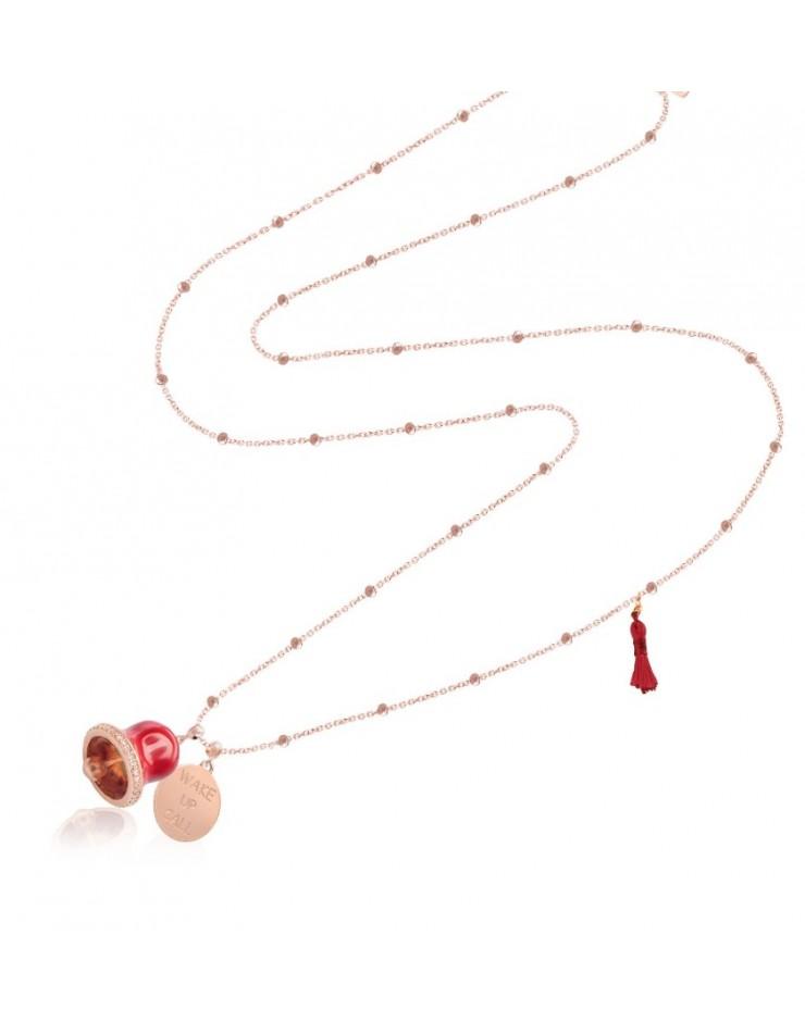 Collana donna Vanessa's Joy Wake Up Call Campanella in argento 925 rosè rossa