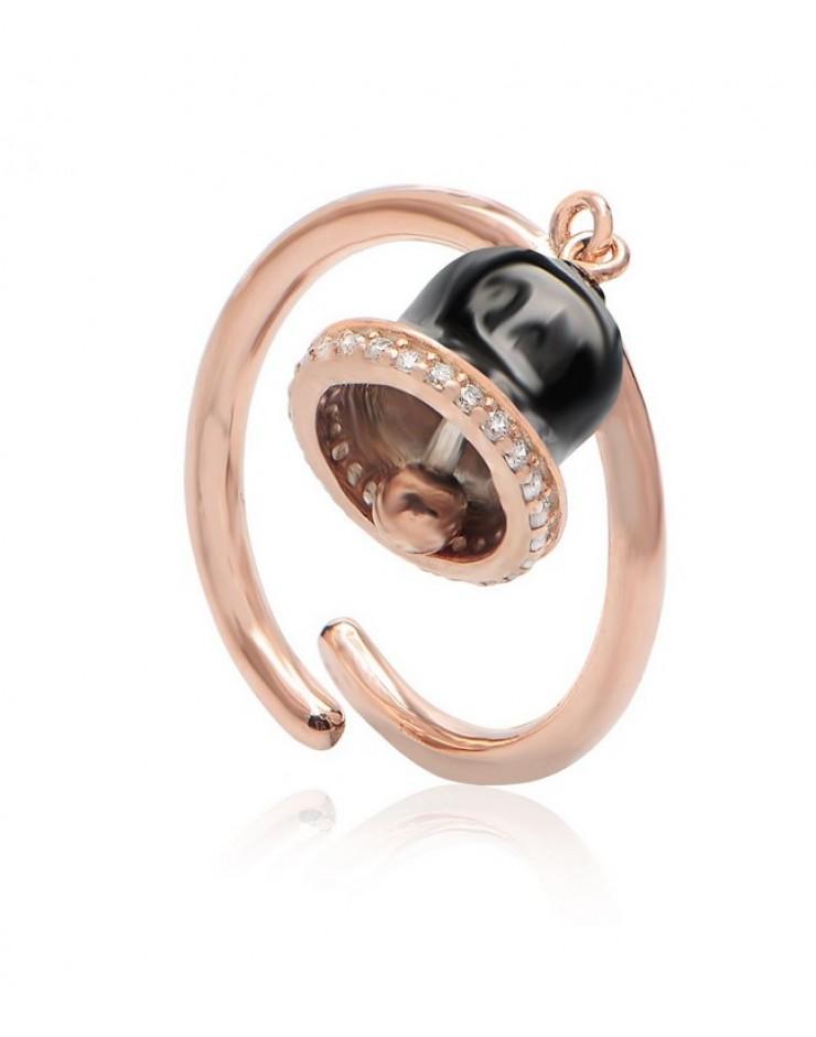 Anello donna Vanessa's Wake Up Call Campanella black in argento 925 rosè