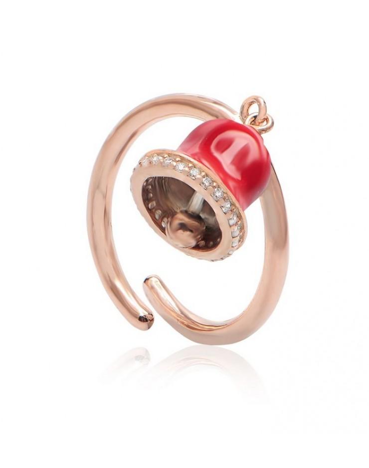 Anello donna Vanessa's Wake Up Call Campanella rossa in argento 925 rosè