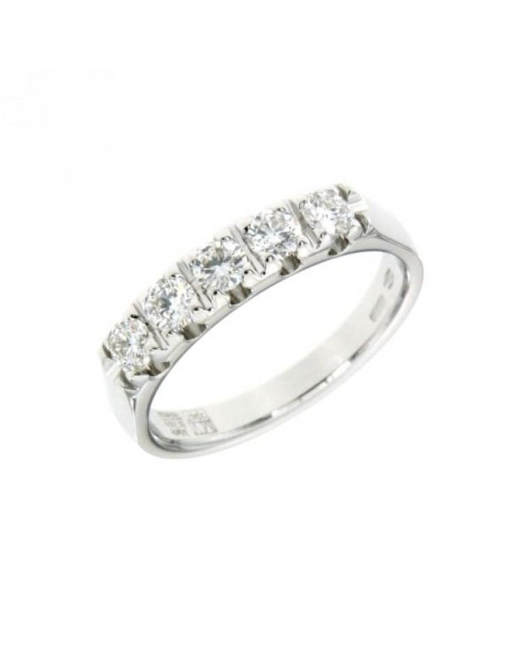 Anello donna oro bianco Veretta con diamanti ct. 0,68 misura 13 - Cicalese Gioielli Valenza Made in Italy