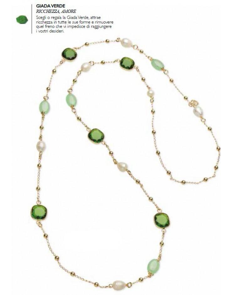 Collana donna Sovrani Gioielli Petit Pois ottone rosè con perle, cristalli e giada verde