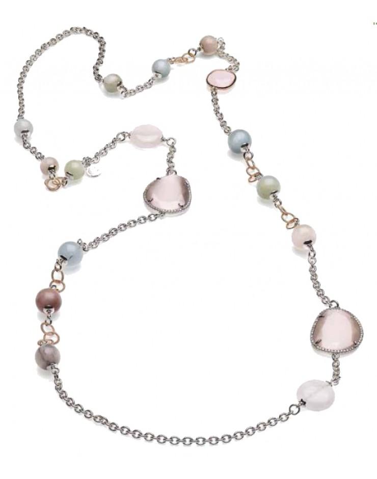 Collana donna Sovrani Gioielli Vanille ottone rosè con perle, cristalli e quarzo naturale