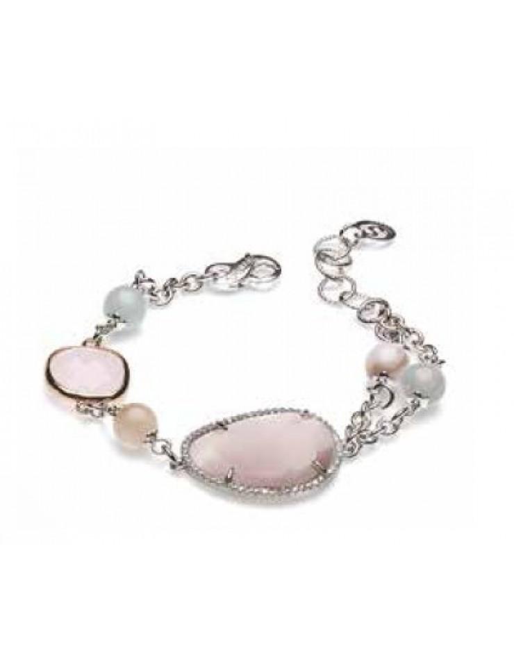 Bracciale donna Sovrani Gioielli Vanille ottone rosè con perle, cristalli e quarzo naturale