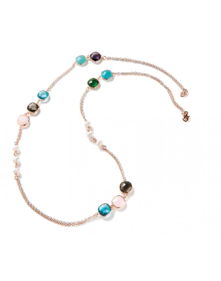 Collana donna Sovrani Gioielli Agathe ottone rosè con perle e cristalli