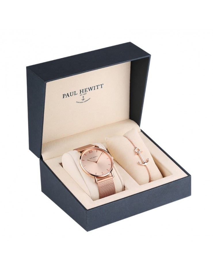 Orologio uomo solo tempo Box Set Perfect Match Paul Hewitt Sailor Line con bracciale IP rose gold