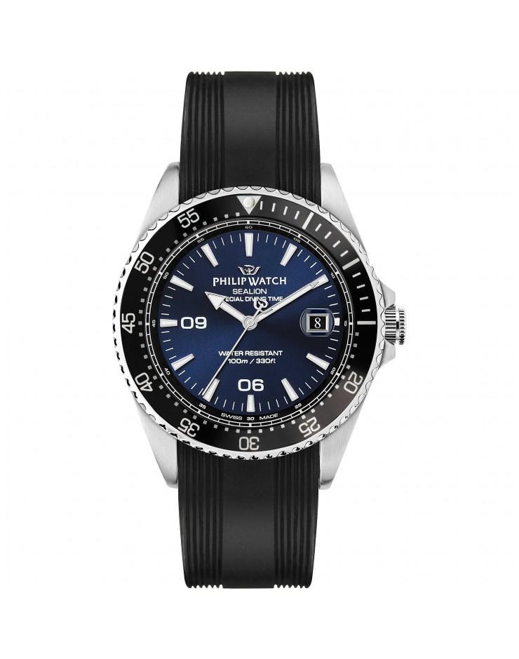 Orologio uomo solo tempo Philip Watch Sealion quarzo Swiss Made Special Diving Time
