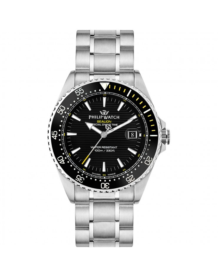 Orologio uomo solo tempo Philip Watch Sealion acciaio quarzo Swiss Made Special Diving Time