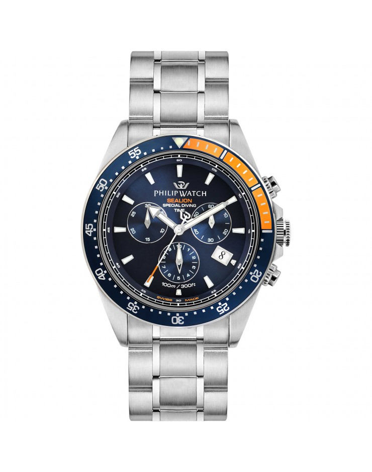 Orologio uomo crono Philip Watch Sealion acciaio quarzo Swiss Made Special Diving Time