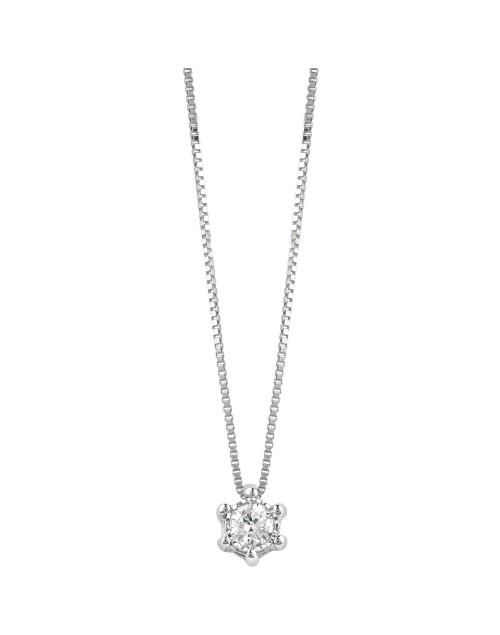 Collana donna Bliss Lumina Punto Luce oro bianco 18kt. con Diamante tot. ct. 0,08