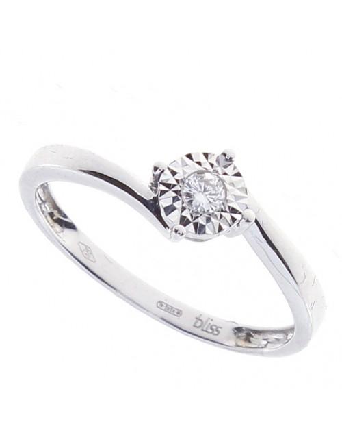 Anello donna Bliss Rugiada Solitario oro bianco 18kt. con Diamante tot. ct. 0,01 Misura 13