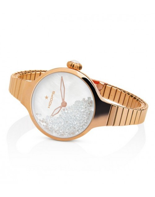 Orologio donna solo tempo Hoops Nuouveau Chèrie Rolling Stones Elastic Gold Bianco