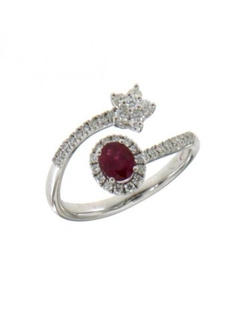 Anello donna oro bianco con Rubino e diamanti stella Misura 14 - Cicalese Gioielli Valenza Made in Italy