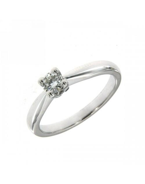 Anello donna oro bianco Solitario con diamanti ct. 0,23 E VS Misura 14 - Cicalese Gioielli Valenza Made in Italy
