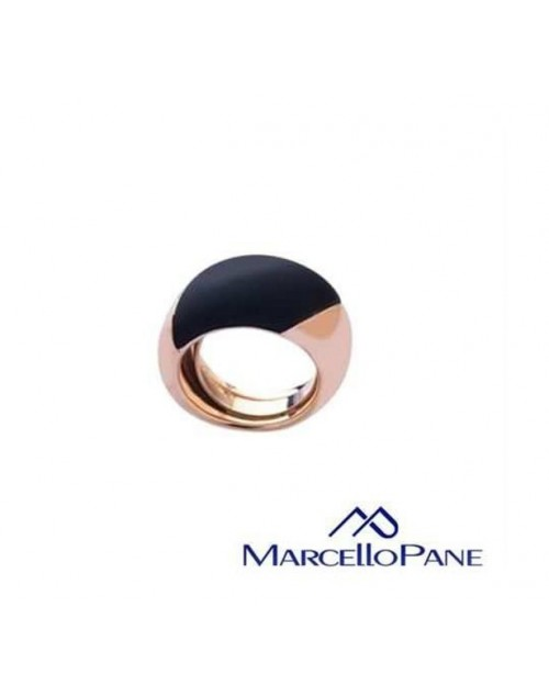 Anello donna argento rose gold con inserti black Rubber Collection - Marcello Pane