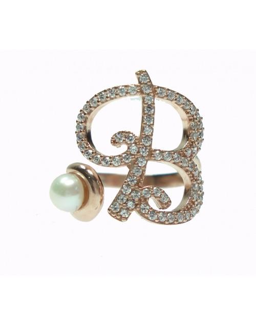 Anello donna argento rose gold con perle e cristalli - iniziale B - Marcello Pane