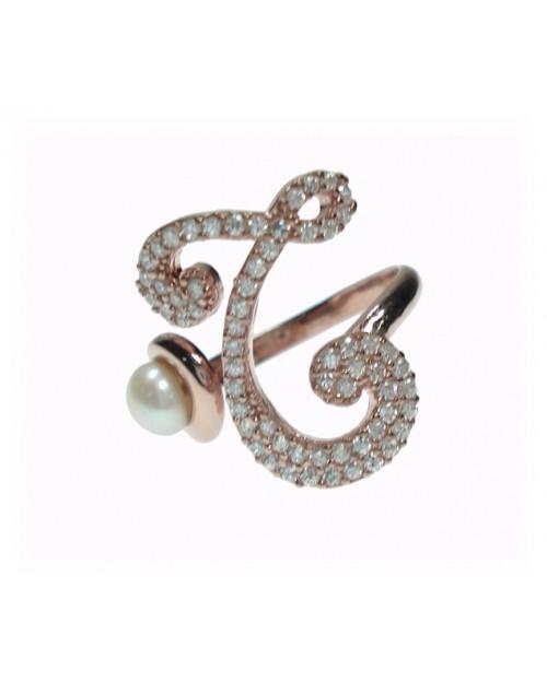 Anello donna argento rose gold con perle e cristalli - iniziale T - Marcello Pane