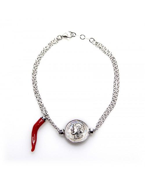 Bracciale unisex Made in Nuceria - Moneta Didramma in argento corno corallo - Gioiello Artigianale - Fortuna