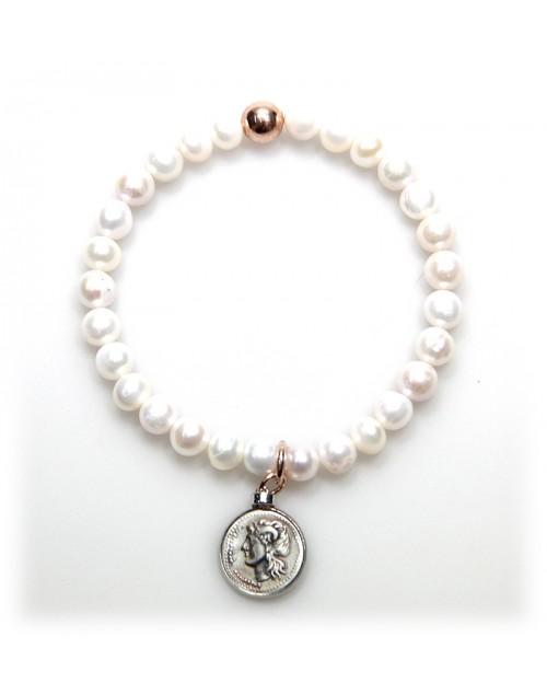 Bracciale donna Made in Nuceria - Moneta Didramma in argento e perle - Gioiello Artigianale - Iride