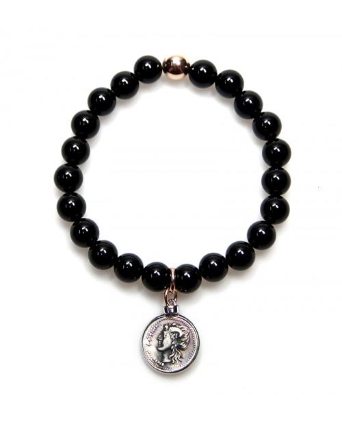 Bracciale donna Made in Nuceria - Moneta Didramma in argento e onice - Gioiello Artigianale - Iride