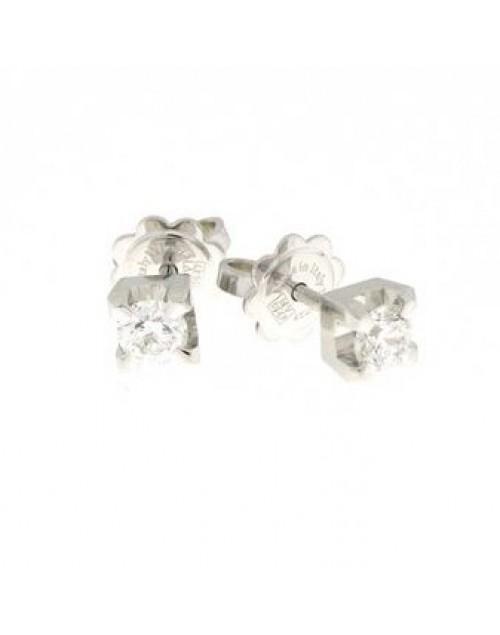 Orecchini punto luce oro bianco e diamanti ct. 0,19 F VS - Cicalese Gioielli Valenza Made in Italy