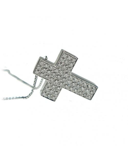 Collana donna oro bianco Croce con diamanti tot. ct. 0,36 - Cicalese Gioielli Valenza Made in Italy