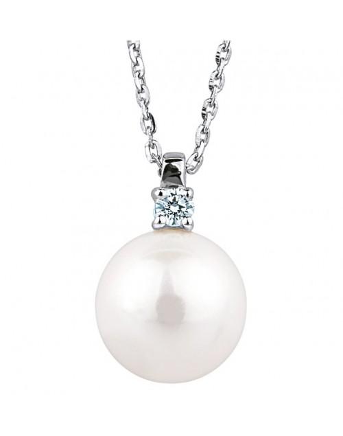 Collana donna oro bianco Bibigì Perle 6,5 con diamanti Pret-a-porter