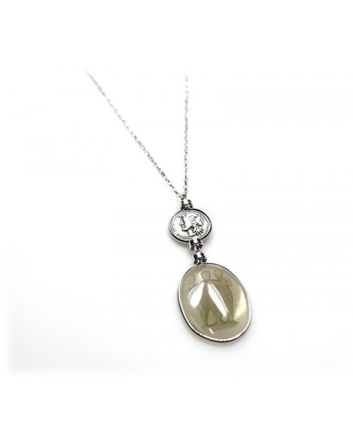 Collana donna Made in Nuceria - Moneta Didramma in argento e pasta vitrea Pezzo Unico - Gioiello Artigianale - Poseidone